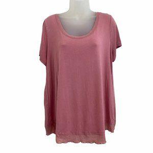 Torrid 1X Plus Top Super Soft Pink Contrast Tiered